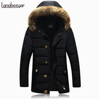 2016 New Fashion Brand Parka Men Thick Winter With Fur Hood Solid Trend Long Men Jackets And Coats