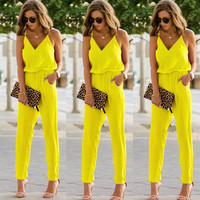 Stylish Sexy Women clothes spaghetti strap wide V-neck sleeveless Bodycon Jumpsuit solid casual Polyester Romper one pieces