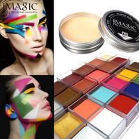 Halloween combination products Set Special Effects Stage Makeup Fake Wound Scars Wax + Oil Painting(flash color) + Spatula Tool