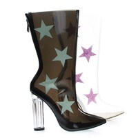 Ella9 Black By Cape Robbin, Lucite Clear Transparent Over Ankle Bootie w Chunky Block Heel w Star