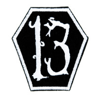 White Coffin 13 Number Thirteen Patch Iron on Applique Alternative Clothing Luck Superstitious