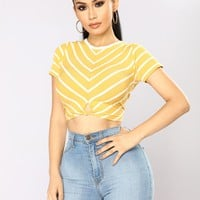 Desires To Hold Striped Top - Mustard