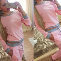 Solid Women Sport Suit Long Sleeve Hoodies And Pants Tracksuits