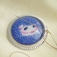 Cute Hedgehog Needle Minder on Silver Pendant Tray with Magnet