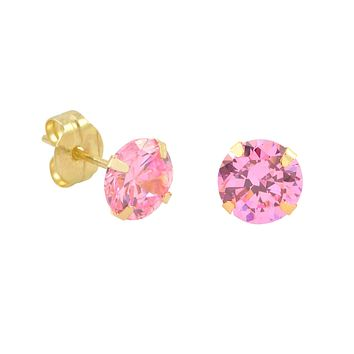 10k Yellow Gold Stud Earrings Pink CZ Cubic Zirconia Round Prong Set