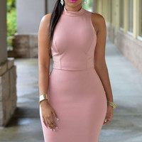 Pinkish Sleeveless Cutout Back Turtle Neck Midi Bodycon Dress