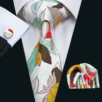 New Arrival Silk Colorful Men`s Print Tie High Quality Design Necktie Hanky Cufflinks Sets For Men`s Party Wedding