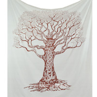 Large White Desert Tree of Life Tapestry Wall Hanging Bedding Bedspread  on RoyalFurnish.com