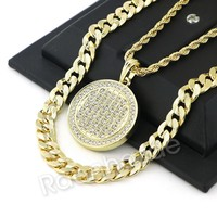 FULLY BLING ROUND CHARM ROPE CHAIN DIAMOND CUT CUBAN CHAIN NECKLACE G66