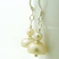 Bridal Wedding Earrings Ivory Pearl Drop with Sterling Silver