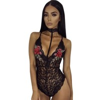 2017 Sexy Halter Neck Lace bodysuit Women Skinny Hollow Out Appliques Flower Mesh Jumpsuit Rompers Women Overalls Ladies #416
