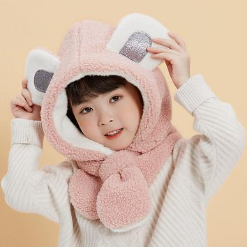 Children's Hats, Baby Girls, Ear Protection Caps, Girls, Boys' Hats, Autumn And Winter Infants, Scarves, One Plush Cap, Cute In Winter