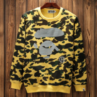 Bape aape New fashion print camouflage couple loose leisure long sleeve top Yellow