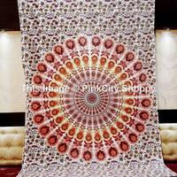 Twin Indian Peacock Mandala Tapestries, Indian Wall Hanging, Hippie Indian Tapestry, Bohemian Wall Hanging, Wall Tapestries, Twin Bedspread