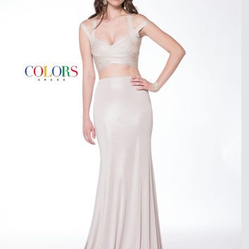 Colors 1732 Two Piece Jersey Stretch Prom Evening Dress