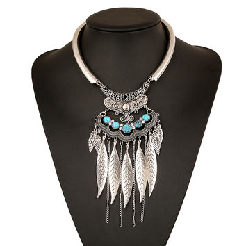 2016 new fashion bohemian power necklace collar choker necklace vintage gypsy ethnic statement necklace women Maxi fine Jewelry