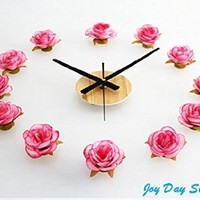 Theme Decal(TM)Romantic Pink White Rose Beauty Flower Wall Clock Sticker 3D DIY Art Wall Sticker Modern Design Decorative Wall Watch Removable Kid's Room Wedding Room Engage Gift (Pink)
