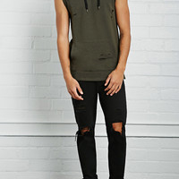 Distressed Sleeveless Hoodie
