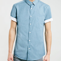 Short Sleeve Blue Shirt - Topman