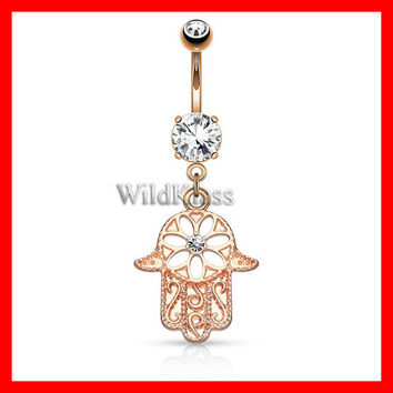 Rose Gold Belly Button Ring 14g Beaded Outline Hamsa with Center CZ Dangle Navel Ring Belly Ring Navel Jewelry Belly Jewelry Navel Piercings