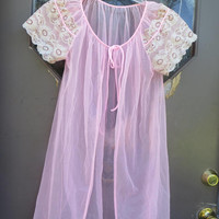 Vintage sheer pink with lace sleeves tie front sexy see thru lingerie robe