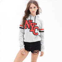SIMPLE - NYC Hooded Long Sleeve Sport Sweatshirt Top a13274