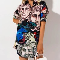 VERSACE Hot Sale Women Casual Print Long Sleeve Shirt Dress