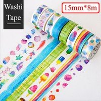 15mm*8m Colourful DIY paper Washi Tapes cute kawaii Masking Tapes Decoration office Adhesive Tapes stickers stationery 02470