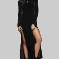 Deep V Back High Slit  Maxi Velvet Dress