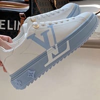 LV Louis Vuitton new high version leather sneakers women casual white shoes Blue