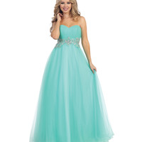 Mint Empire Waist Beaded Corset Gown 2015 Prom Dresses