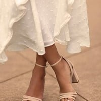 Shayla Nude Suede Ankle Strap Heels