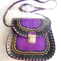 Vintage 1970s Purple Black Leather Tooled Purse Handbag Shoulderbag
