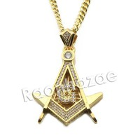 ESBA8C Mens Iced Out Brass Masonic Gold Freemason Charm w/ 5mm 24' 30' Cuban Chain A01