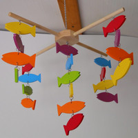 Mobile KIT, Nursery Decor, Bedroom Decor, Colorful Fish, Hanging Decor