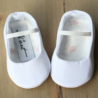 WHITE or IVORY satin baby girl shoes, baptism christening ballerina shoes, wedding flower girl shoes