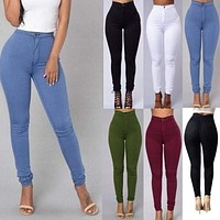 Womens Winter Denim Jeans New Fashion Solid Colors Girl Casual Jeans Pants US