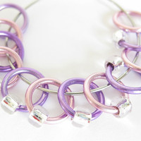 Medium stitch markers for knitting | snag-free stitchmarkers | snagless stitch markers | pink, purple rings; clear silver beads | #0095