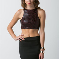 (and) Faux leather mesh on sides crop top