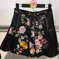 Ceci Studded Leather Skirt