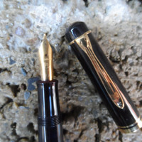 Vintage pen - Pelikan M series fountain pen - made in Germany - vintage writing pen gold black vintage desk accessory