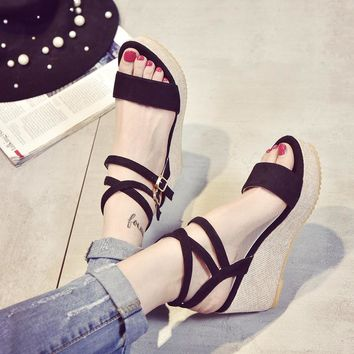 Design Waterproof Summer Korean Stylish Thick Crust Wedge Sandals [11192813959]