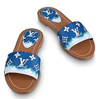 LV Shoes Louis Vuitton Slippers Flat Sandals Gradient Big Monogram Sky Blue White Clouds