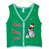 Bah Hum Pug Tacky Ugly Christmas Sweater Vest