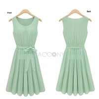 Fashion Women's Clothing 2013 Summer New Arrivals Short Sleeve Bodycon Belt Chiffon Sleeveless Dresses