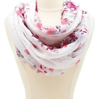 MIRRORED FLORAL PRINT INFINITY SCARF