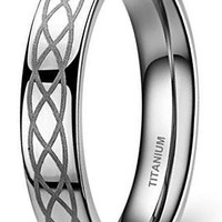 CERTIFIED 4mm Titanium Comfort Fit Wedding Band Ring Celtic Knot Polished Finish