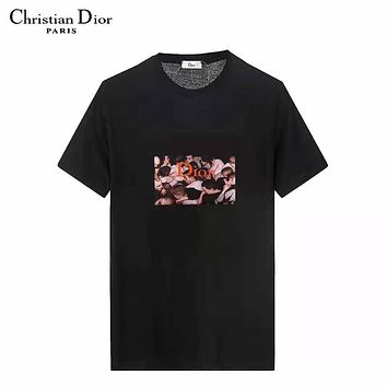 DIOR New fashion letter people print couple top t-shirt Black