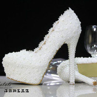 women pumps high heels Crystal wedding shoes pearl bridal shoes pumps rhinestone lace handmade female wedding white shoes pumps