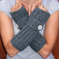 Heather Grey long ribbed with wrist strap crochet button arm warmers, fingerless gloves